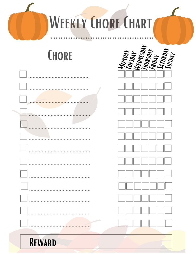 Free Printable Weekly Chore Chart Template | Pumpkin Fall In