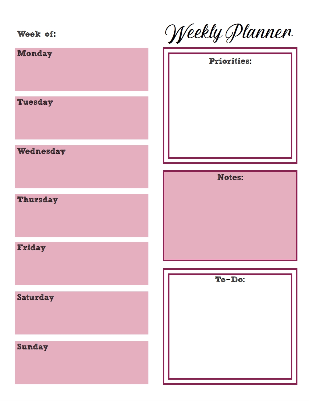 Free Printable Weekly Planners: Monday Start