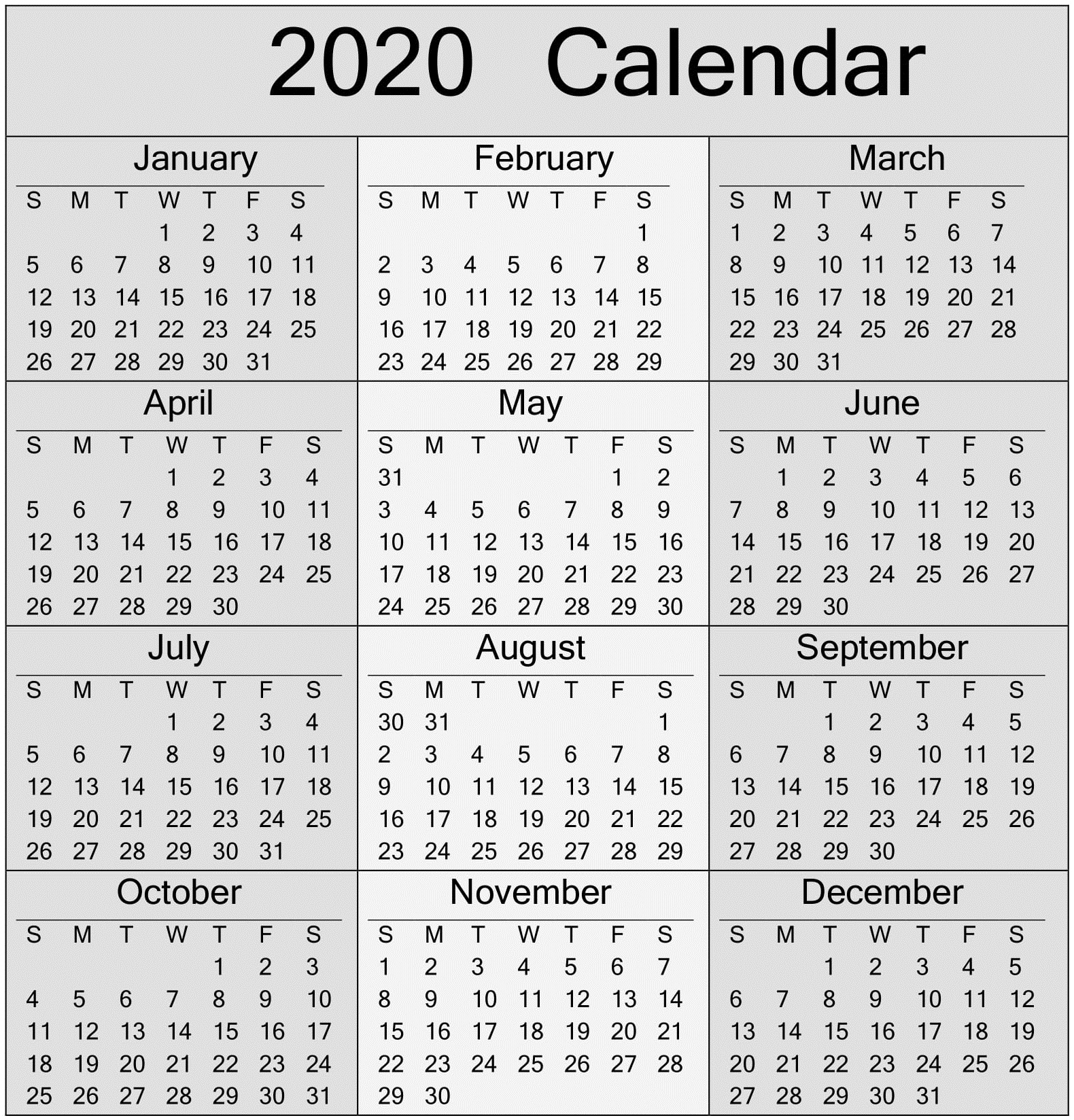 Free Printable Yearly 2020 Calendar And Holiday Templates