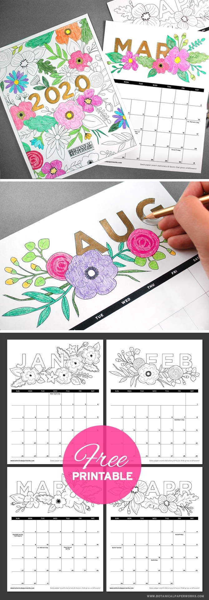 Free Printables} 2020 Calendars | Botanical Paperworks throughout 2020 Printable Yearly Colouring Calendar