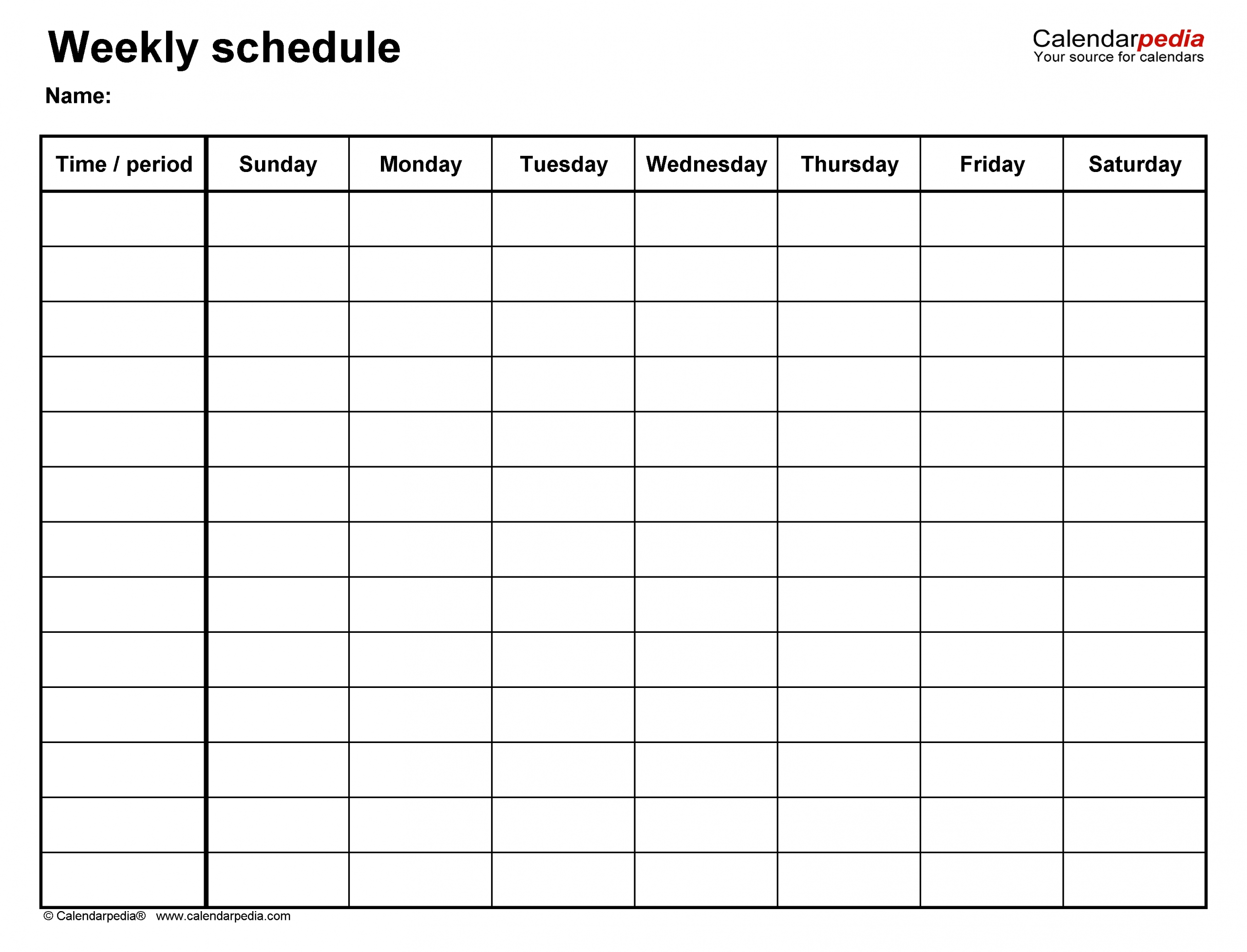 Free Weekly Schedule Templates For Word - 18 Templates