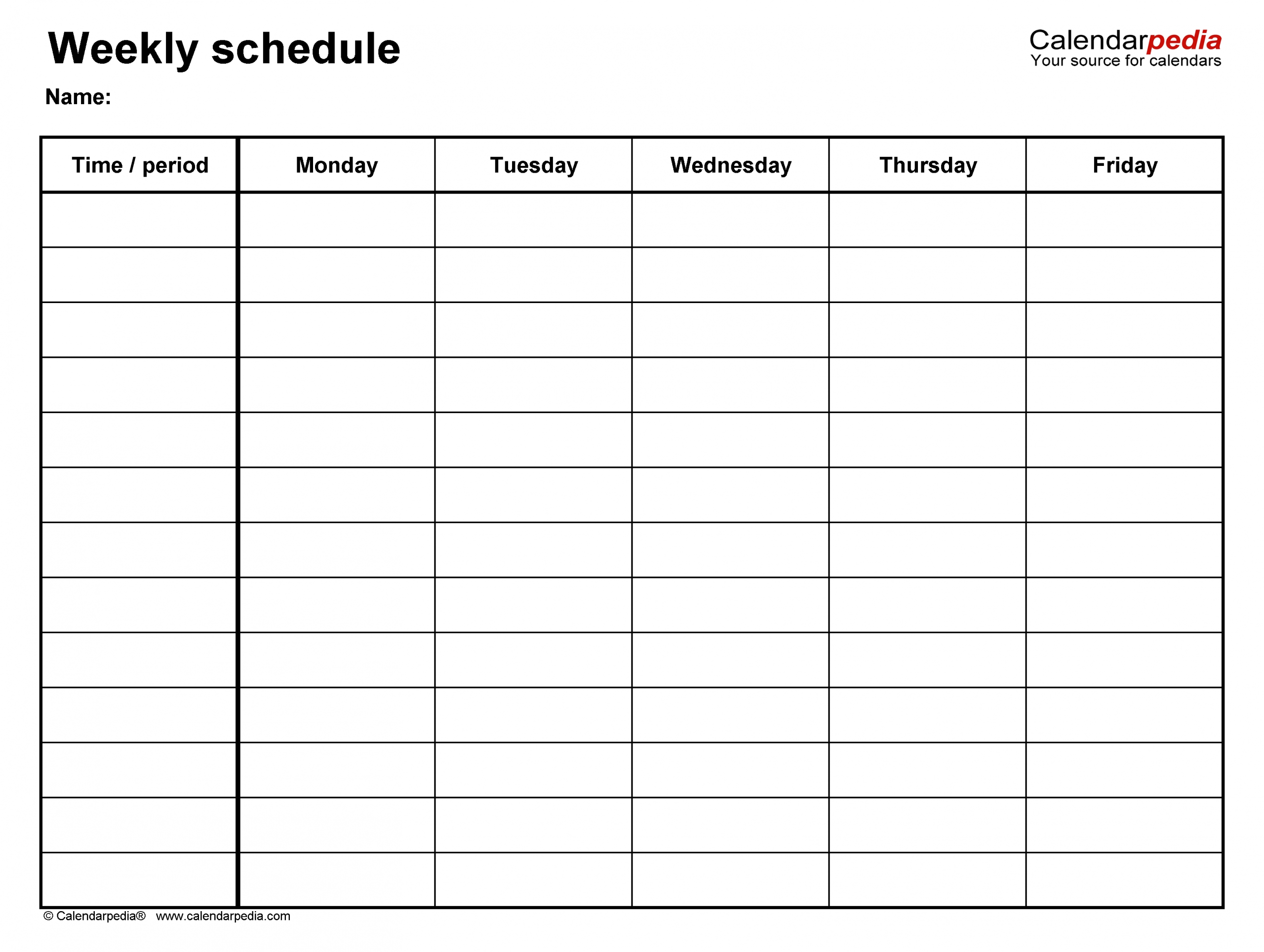 Free Weekly Schedule Templates For Word - 18 Templates with regard to Monsay Through Friday Calneder With Times