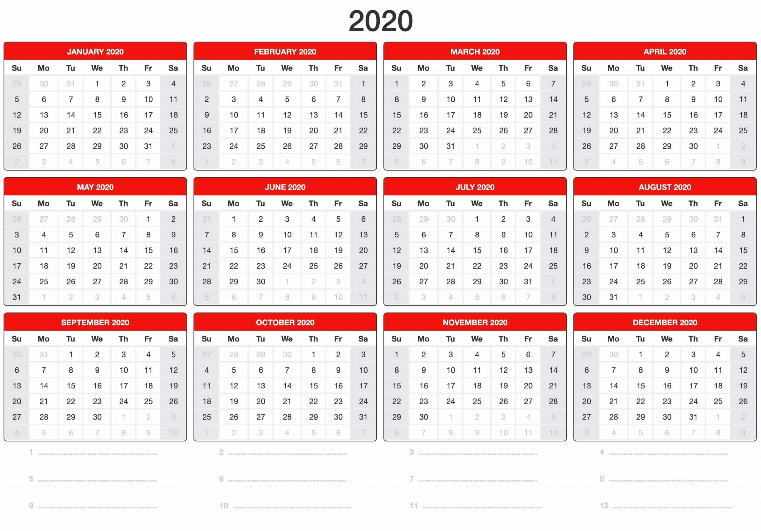 Free Yearly Calendar 2020 Template Online - Set Your Plan with Printable Chalander With Space To Right For 2020