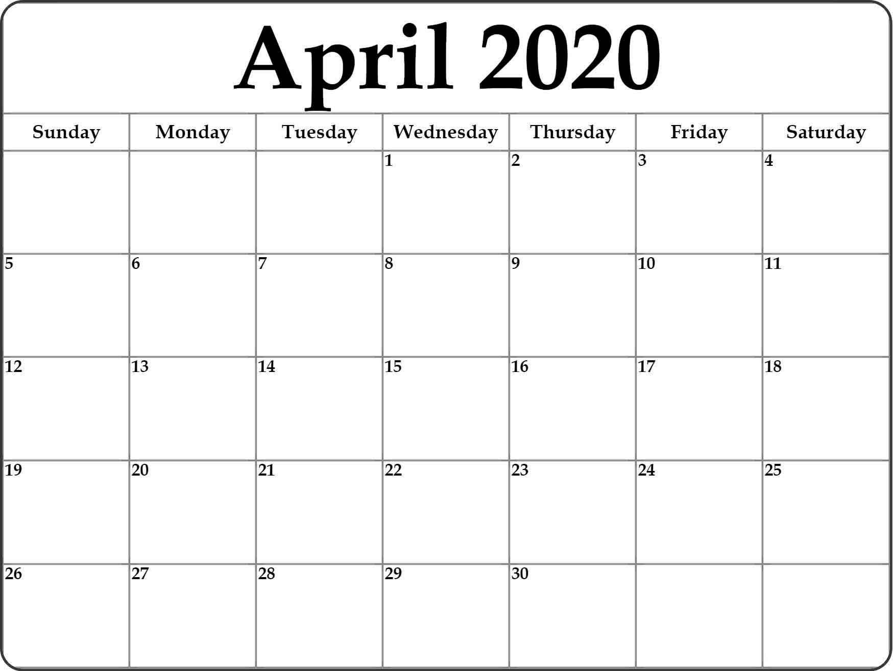 Google Calendar April 2020 - Free Printable Calendar Templates inside Google Free Printable Calendars 2020