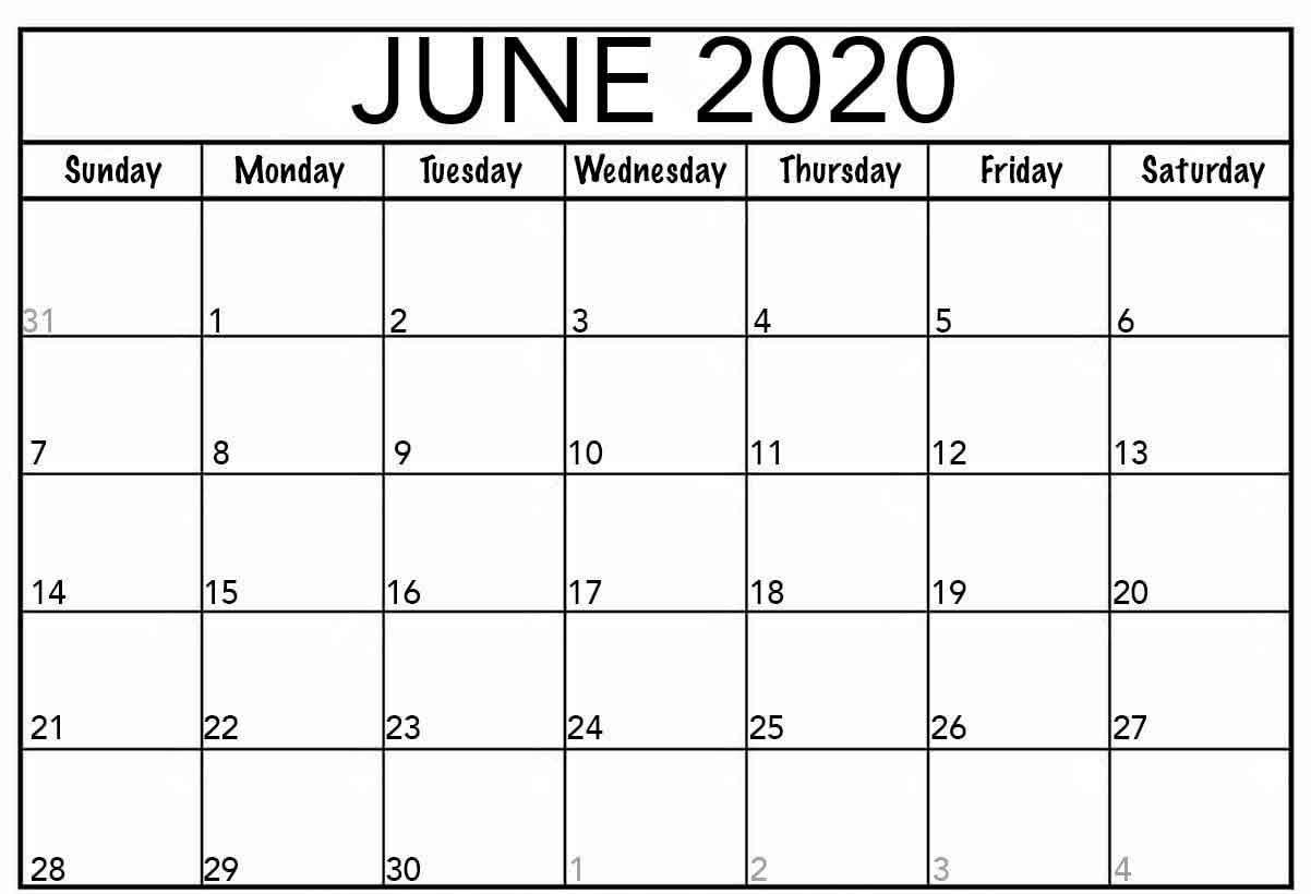 Google Calendar June 2020 Free Printable Calendar Templates. throughout Google 2020 Calendar Template Editable