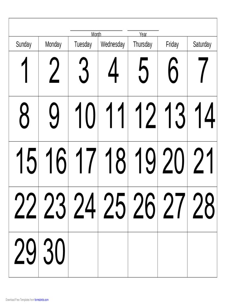 Handwriting Calendar - 30 Day - Sunday - Edit, Fill, Sign