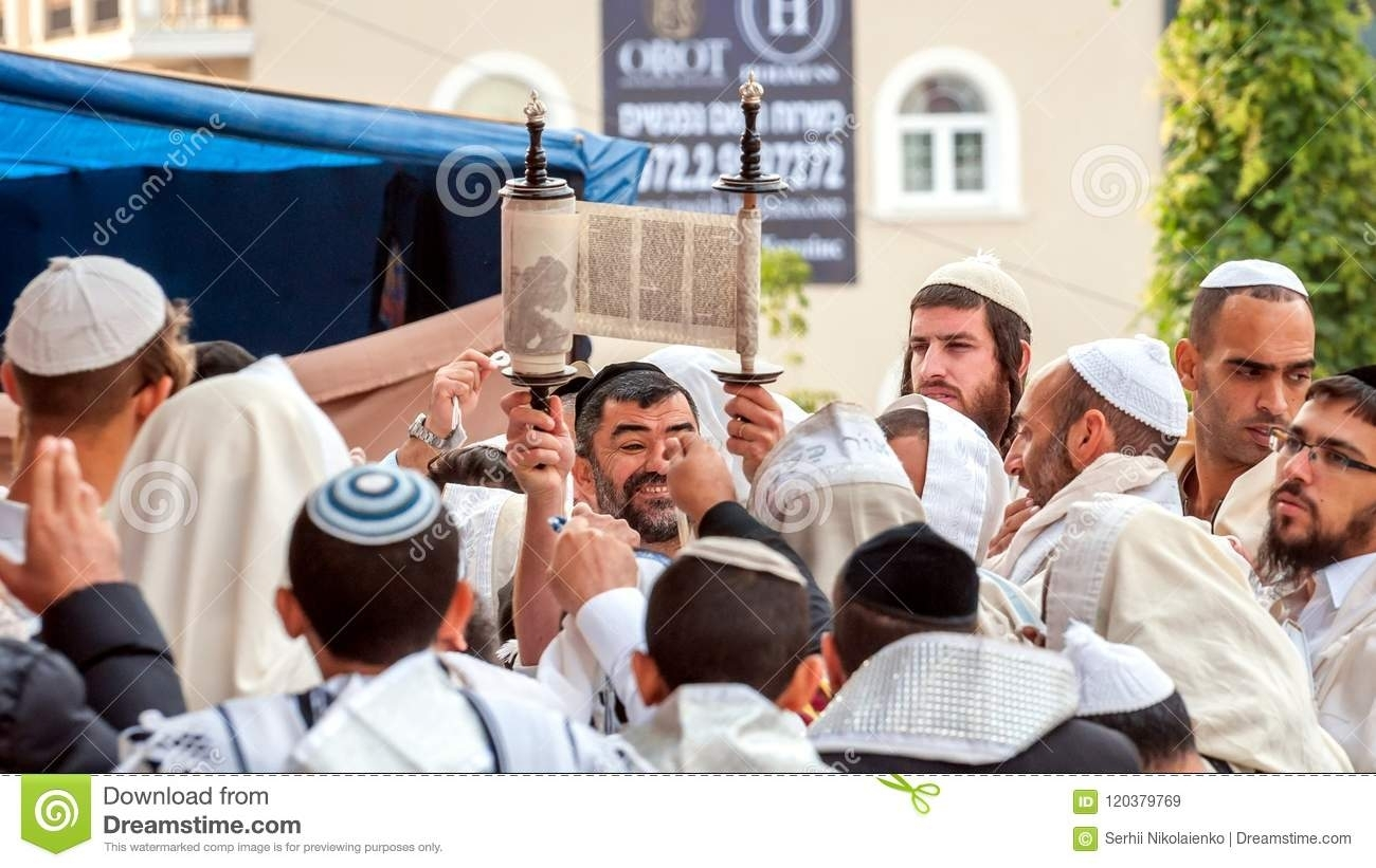 Hasidims Pray While Reading The Torah Scroll. Rosh Hashanah in What Is The Next Reading For Torah