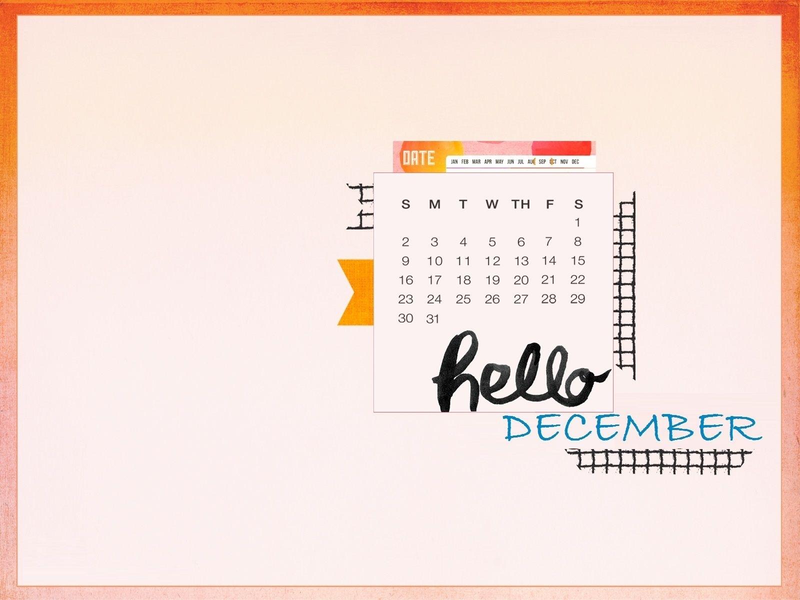 Hello December 2018 Desktop Calendar | Calendar Wallpaper
