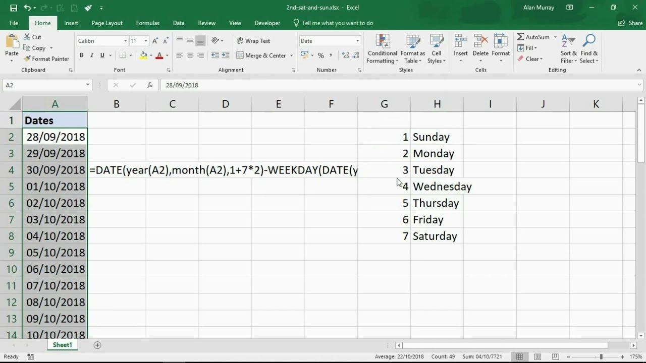 Highlight The 2Nd Saturday And Sunday Of Any Given Month - Excel Trick