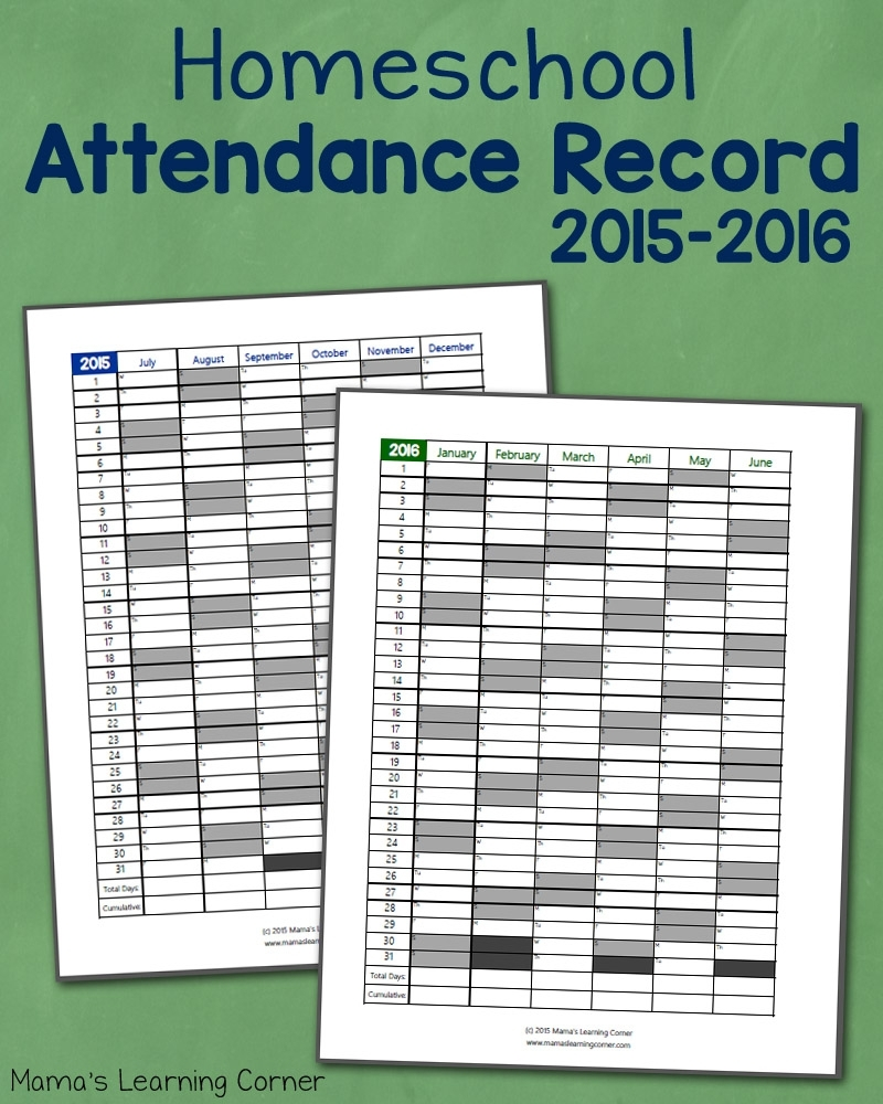 Homeschool Attendance Record 2015-2016: Free Printable