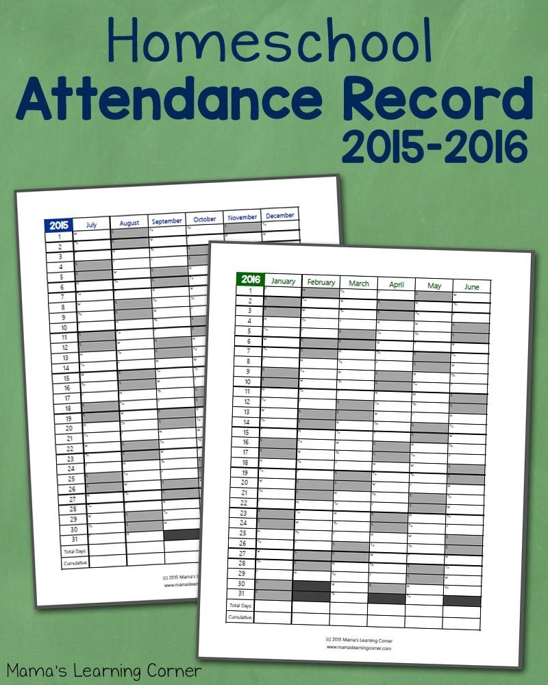 Homeschool Attendance Record 2015-2016: Free Printable