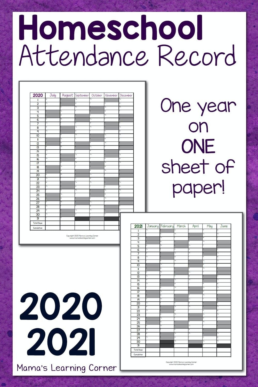 Homeschool Attendance Record 2020-2021 In 2020 | Homeschool