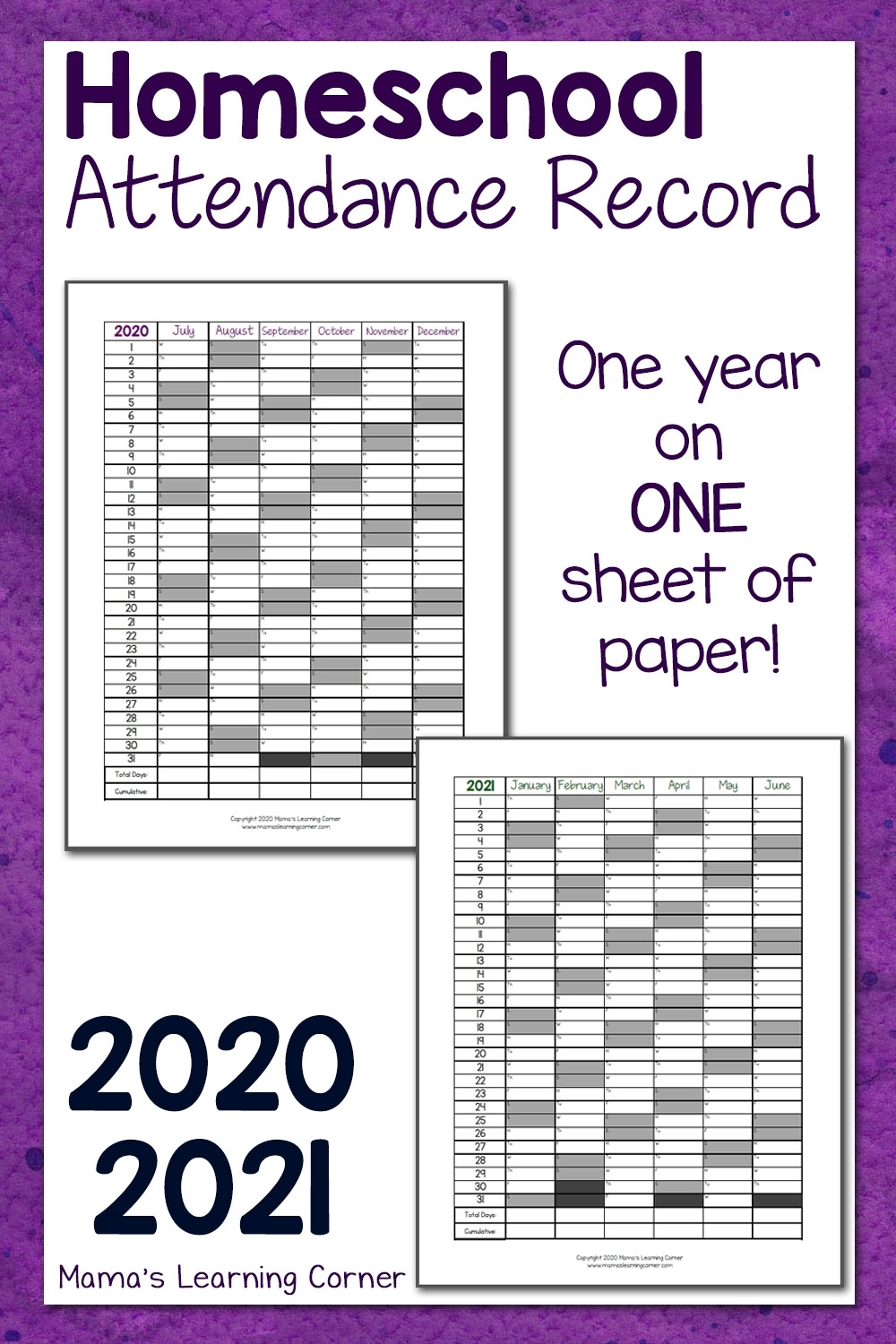 Homeschool Attendance Record 2020-2021 - Mamas Learning Corner