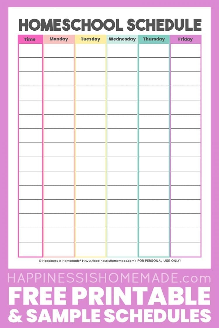Homeschool Schedule Template: Free Printable - Happiness Is