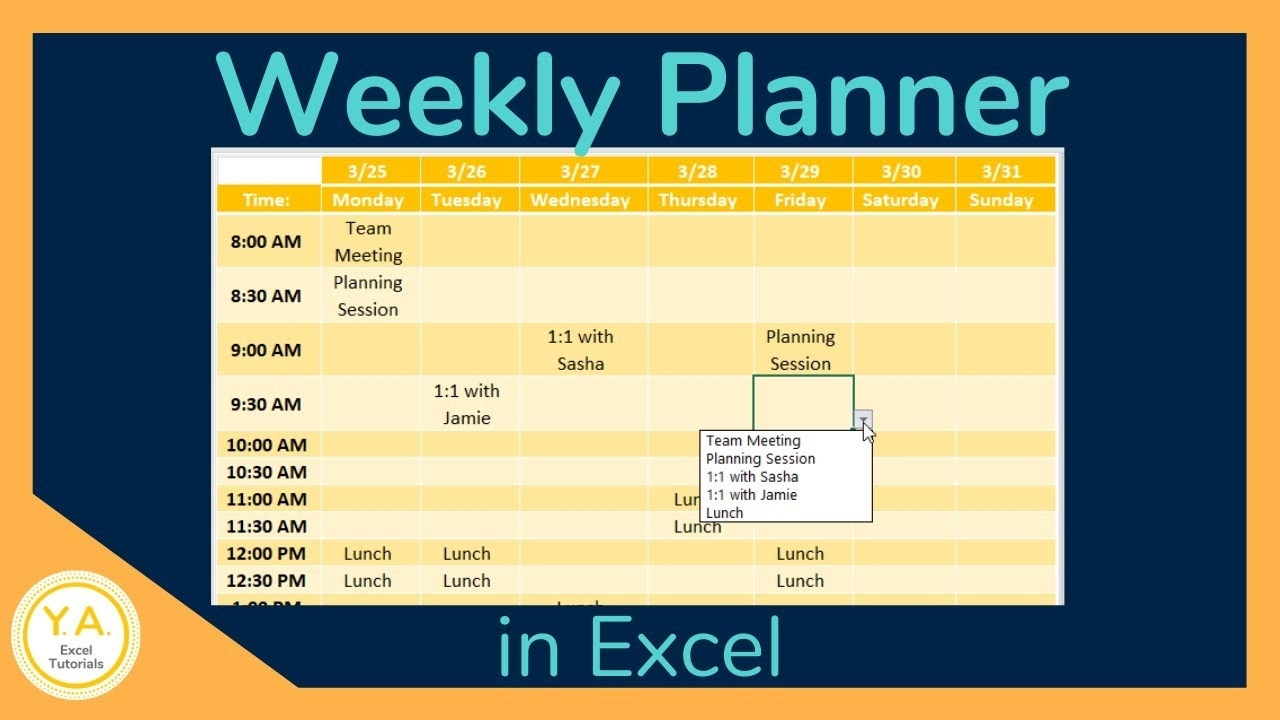 How To Make A Weekly Schedule In Excel - Tutorial