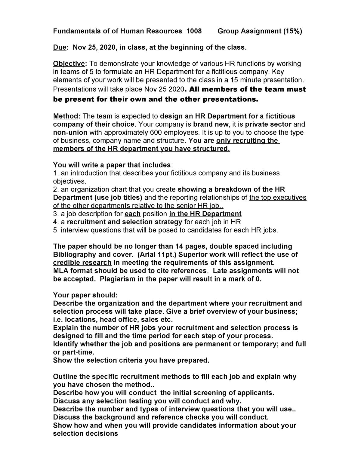 Hr1008- Assignment 2 2020 Fallclass(1) - Studocu