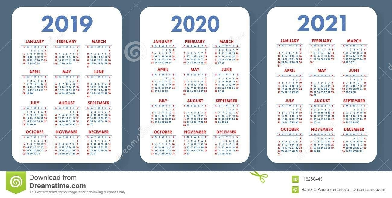 Illustration About Pocket Calendar 2019, 2020, 2021 Set in Printable Calendars 2020 Pocket Size
