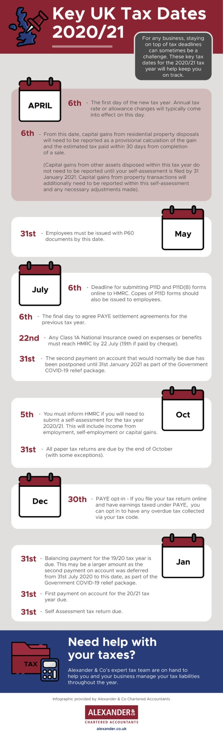 Important Tax Year 2020/21 Dates | Alexander & Co.