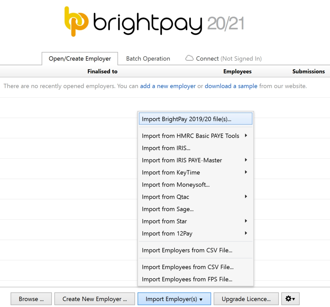 Importing From The Previous Tax Year - Brightpay Documentation for Hmrc Calendar 2019/2020 For Cis