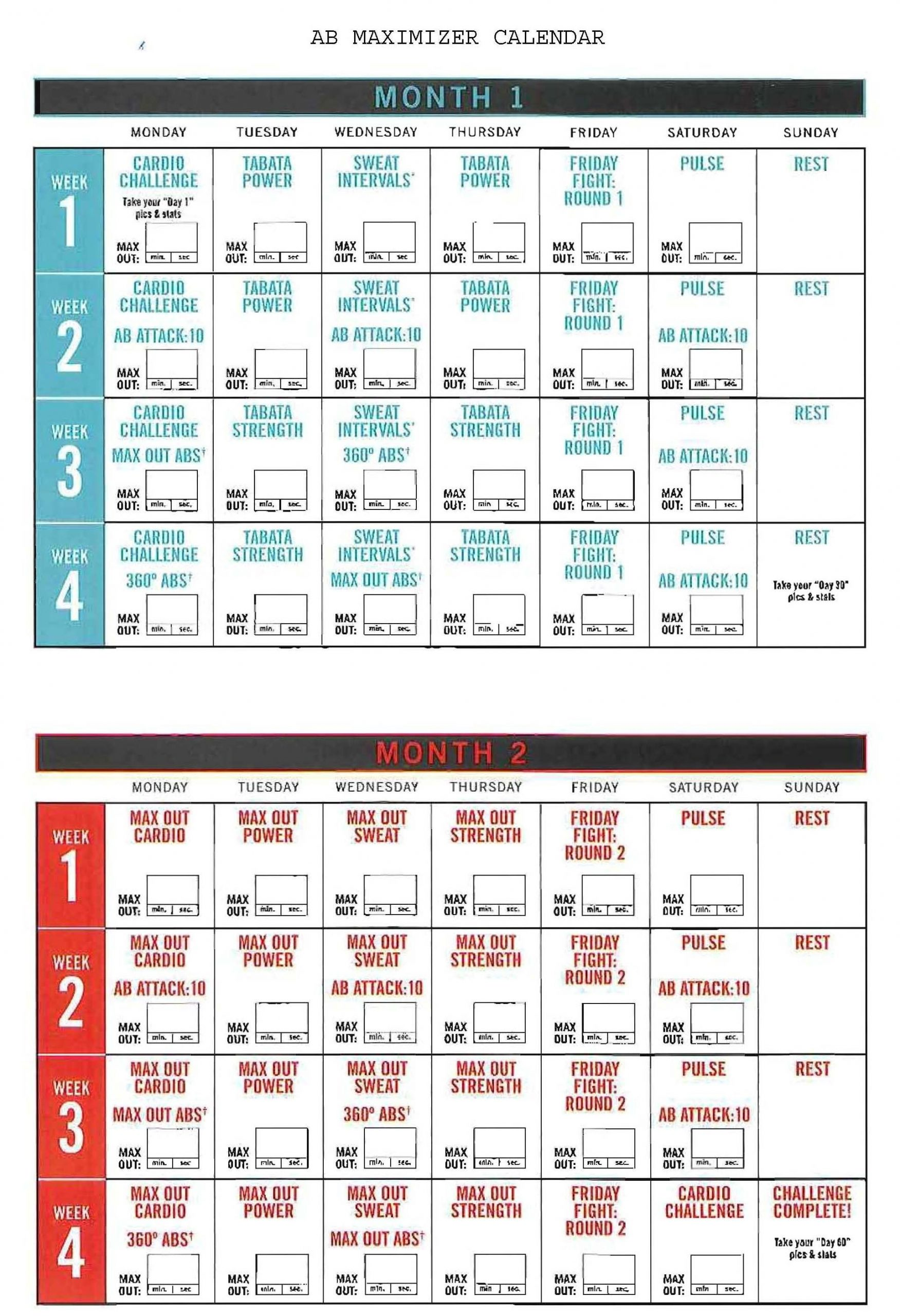 Insanity Ab Maximizer Calendar! Hit Tha Floor - Starting 12