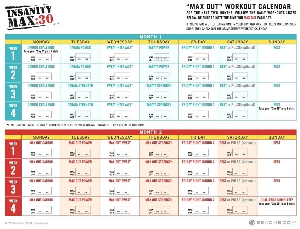 Insanity Calendar Worksheet | Printable Worksheets And
