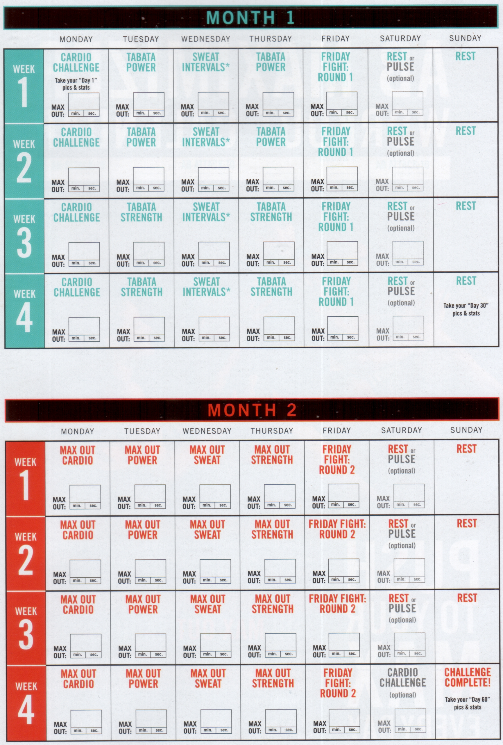 Insanity Max 30 Schedule Pdf   Calendar For Planning pertaining to Calendrier Hybride Insanity Max 30