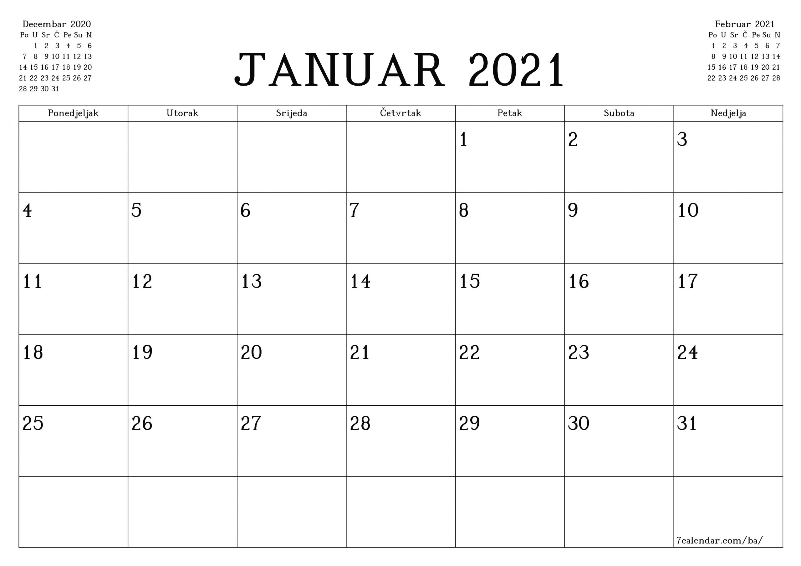 Ispis Kalendara, Jedrilica, Planiranje Unosa Na Januar 2021