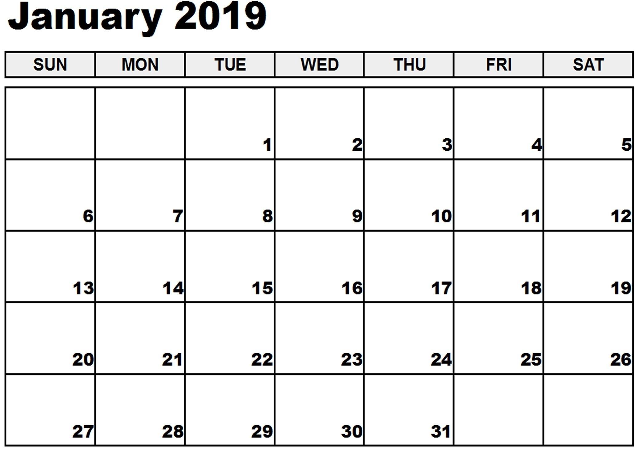 January 2019 Printable Calendar January 2019 Calendar intended for Fill In Calendar 2019 Printable