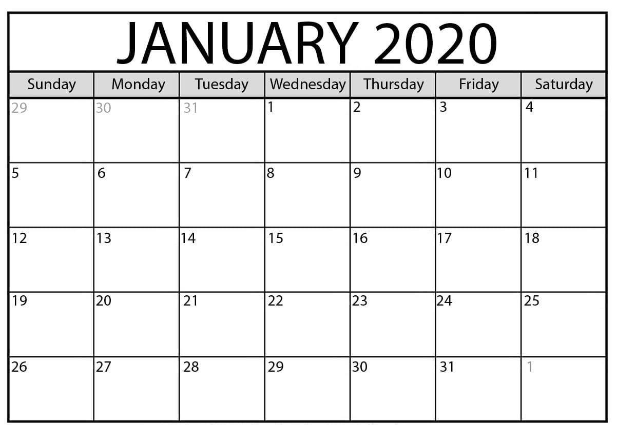 January 2020 Blank Calendar | Blank Monthly Calendar with 2020 Free 12 Month Printable Monthly Calendar