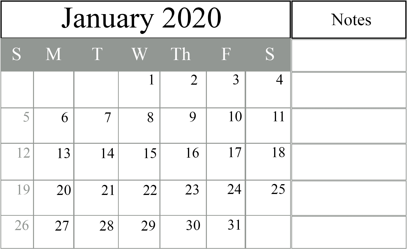January 2020 Calendar Excel – Free Monthly Calendar with Printable 2020 Calendar Monthly No Download Free Excel