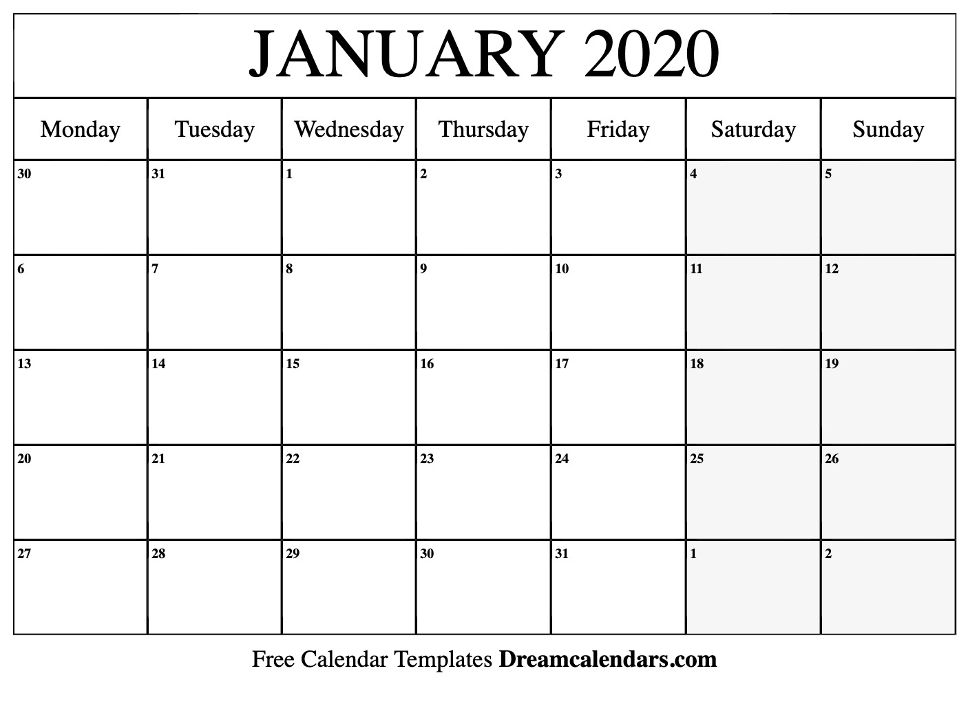 January 2020 Calendar | Free Blank Printable Templates