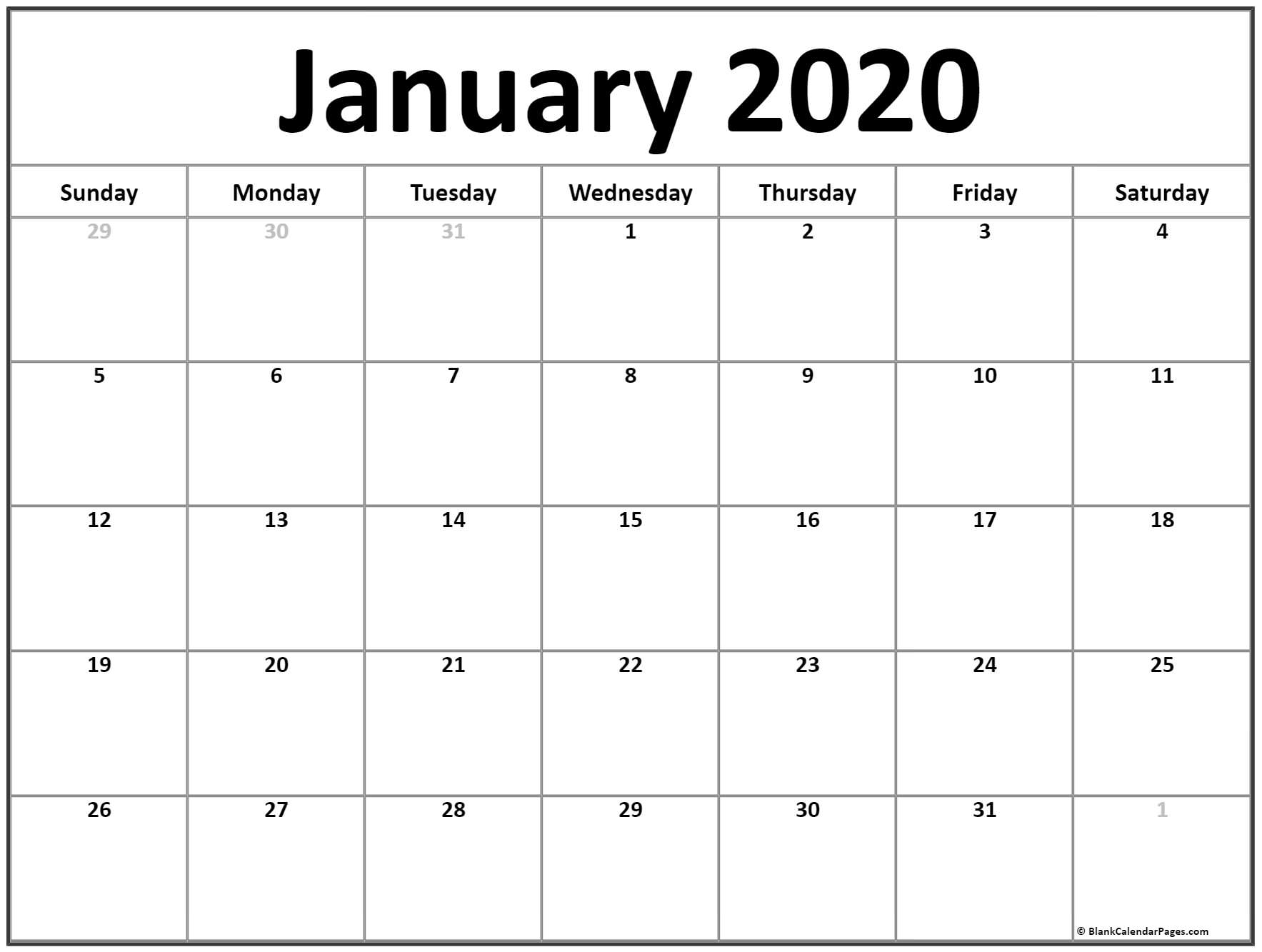 January 2020 Calendar | Free Printable Monthly Calendars in Year Calendar 2020 With Space To Write Int