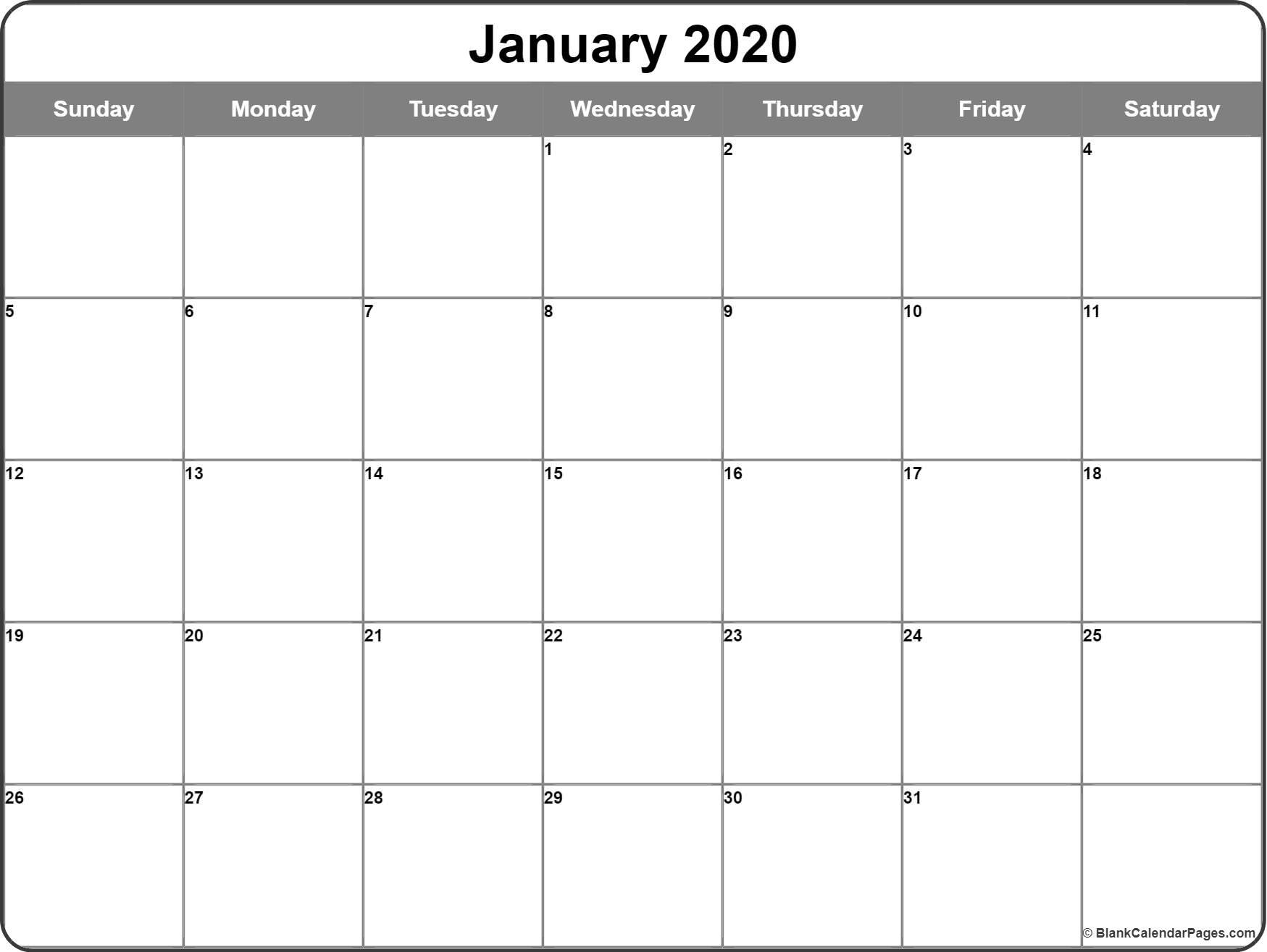 January 2020 Calendar   Free Printable Monthly Calendars regarding Print Free Calendars Without Downloading 2020