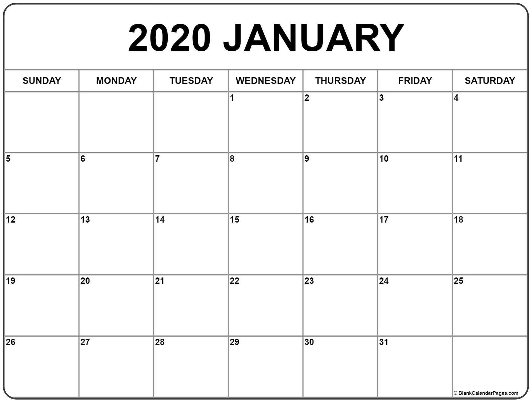January 2020 Calendar | Free Printable Monthly Calendars with Google Free Printable Calendars 2020