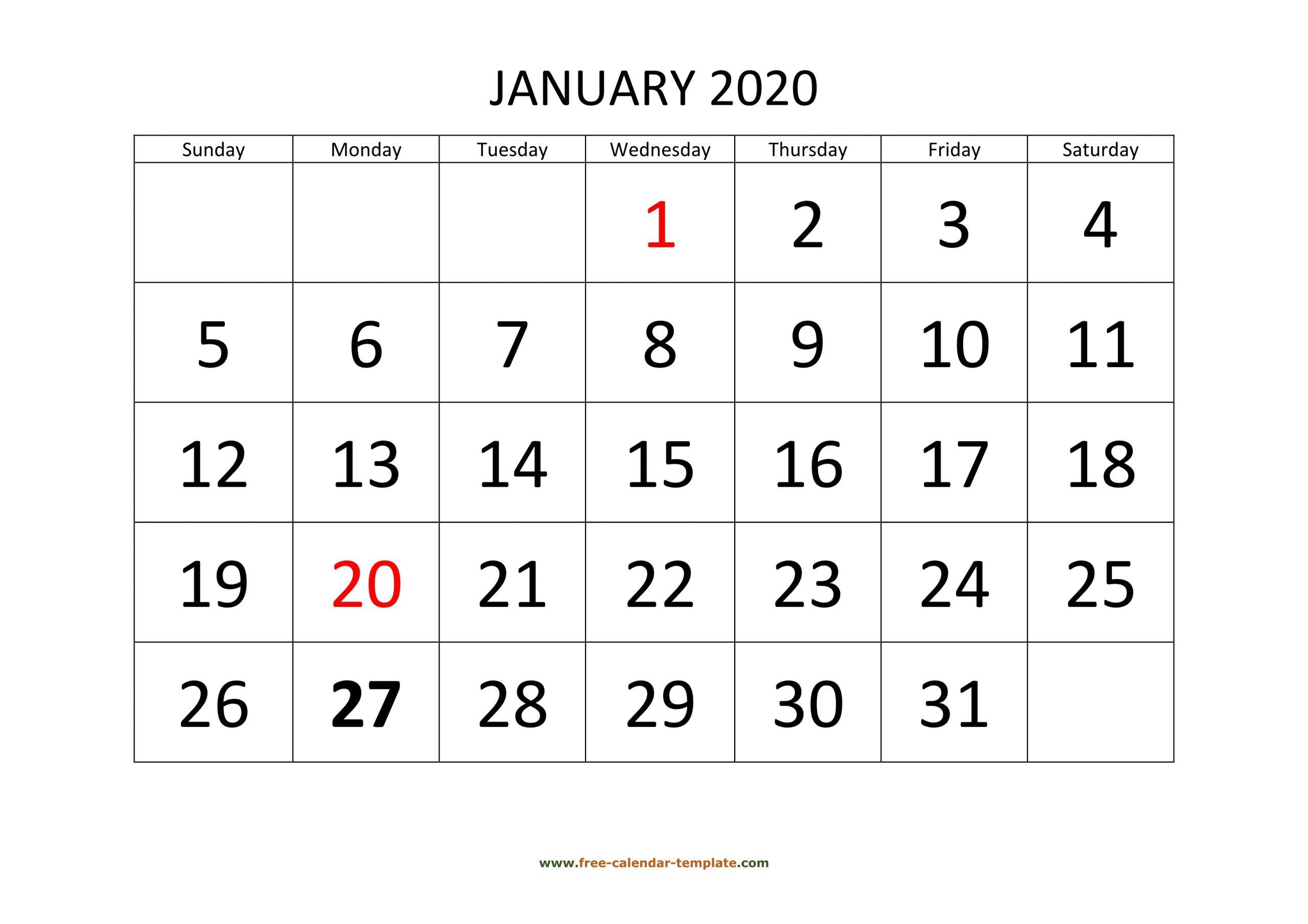 January 2020 Free Calendar Tempplate | Free-Calendar within Free Printable 2020 Calendars Large Numbers
