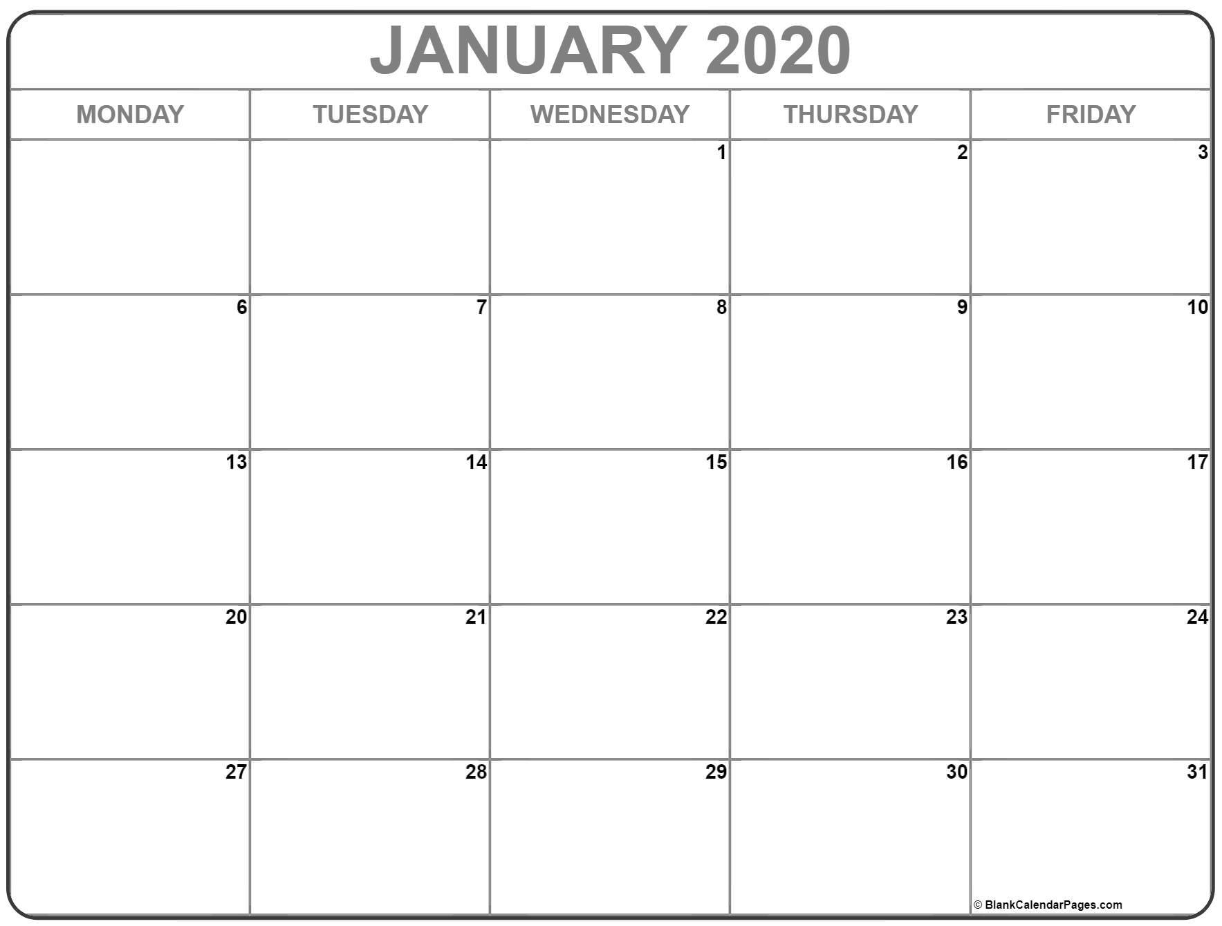 January 2020 Monday Calendar | Monday To Sunday