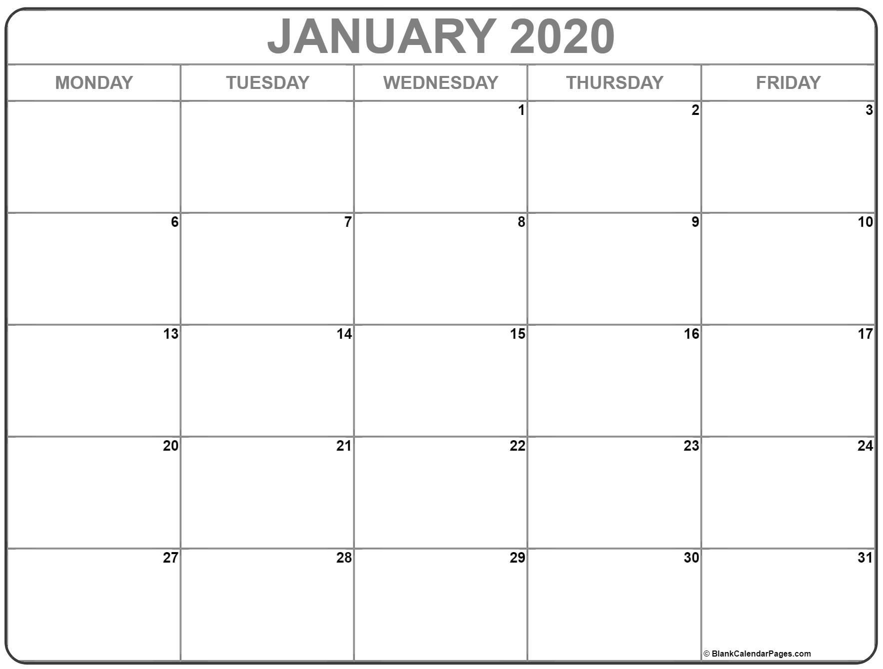 January 2020 Monday Calendar | Monday To Sunday for Printable Calendar 2020 Monday To Sunday