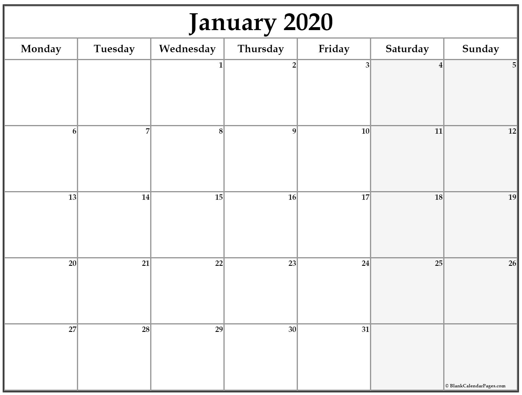 January 2020 Monday Calendar | Monday To Sunday with regard to Printable Monday To Sunday 2020 Calendar