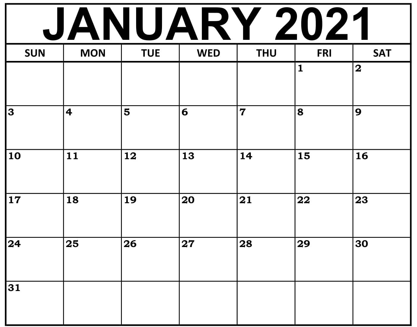 January 2021 Calendar Canada With National Holidays - Set