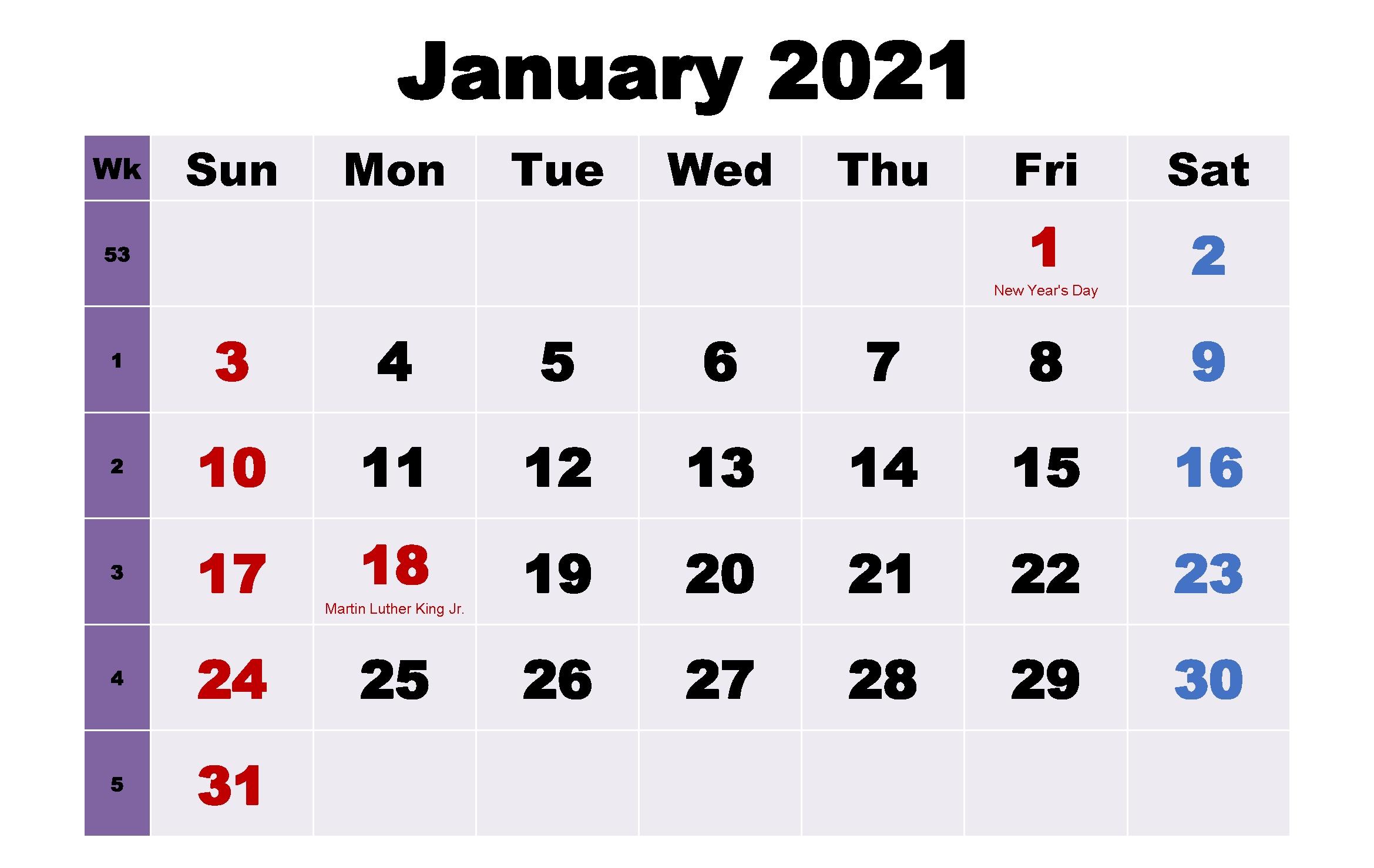 January 2021 Calendar With Holidays In 2020 | 2021 Calendar