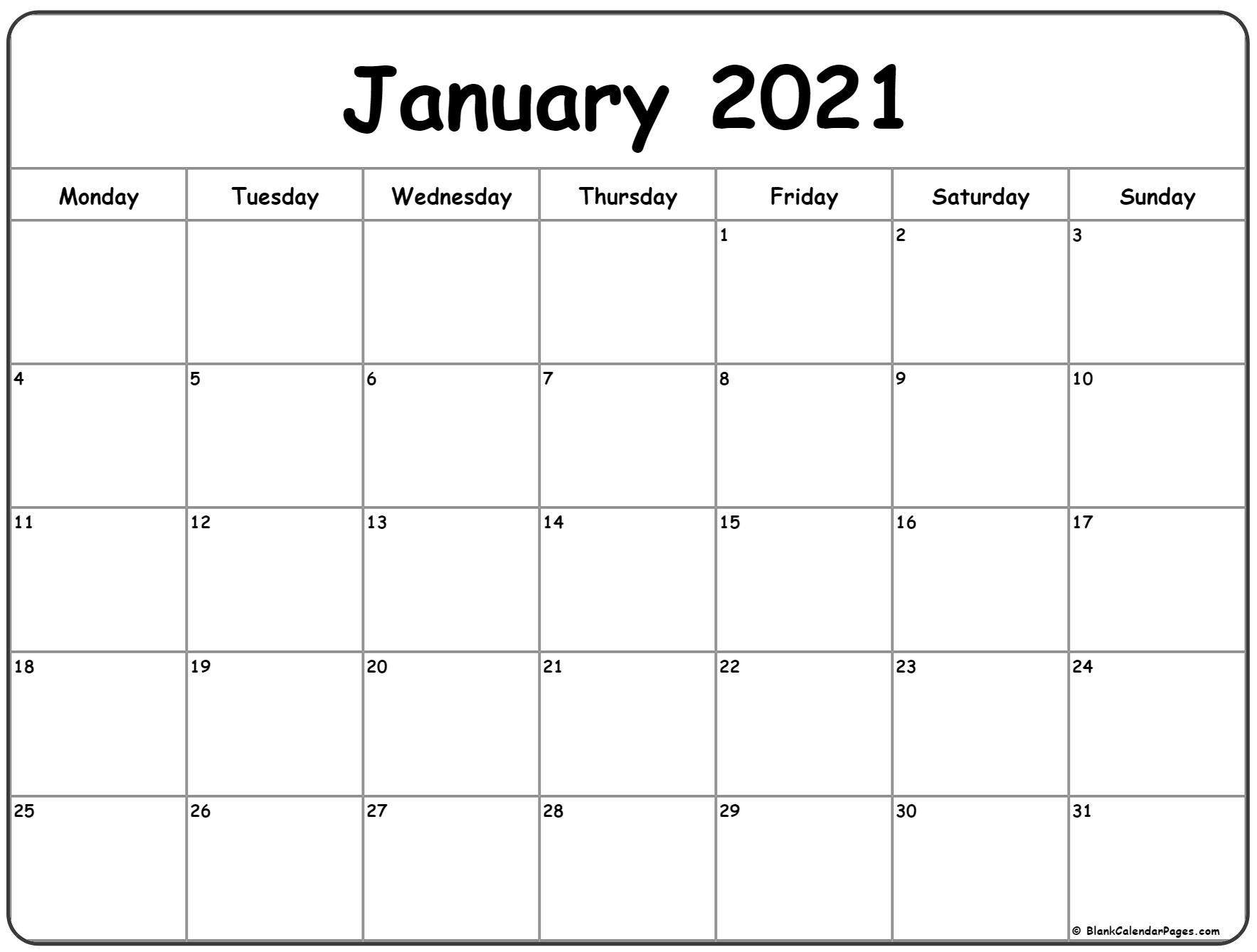 January 2021 Monday Calendar   Monday To Sunday