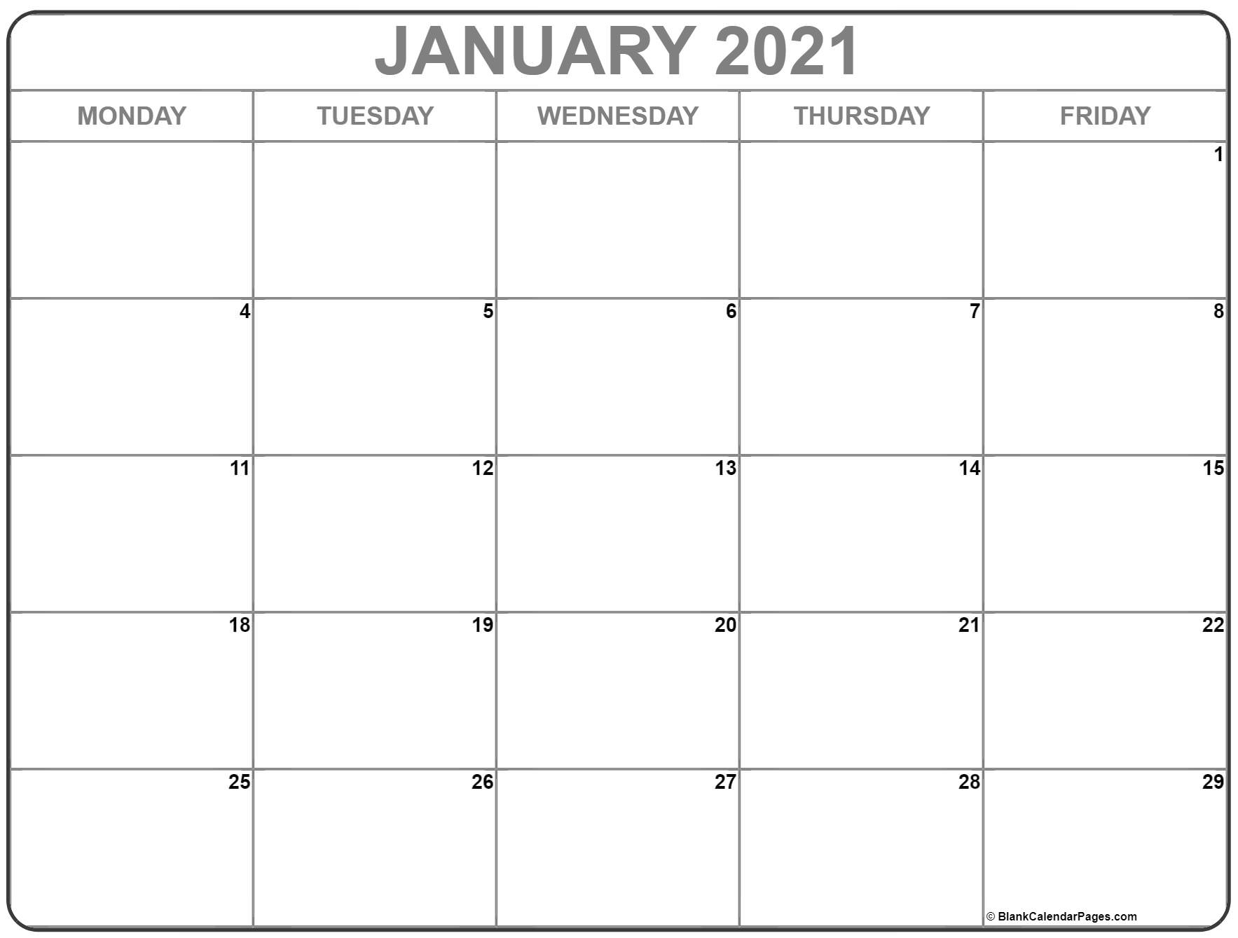 January 2021 Monday Calendar | Monday To Sunday