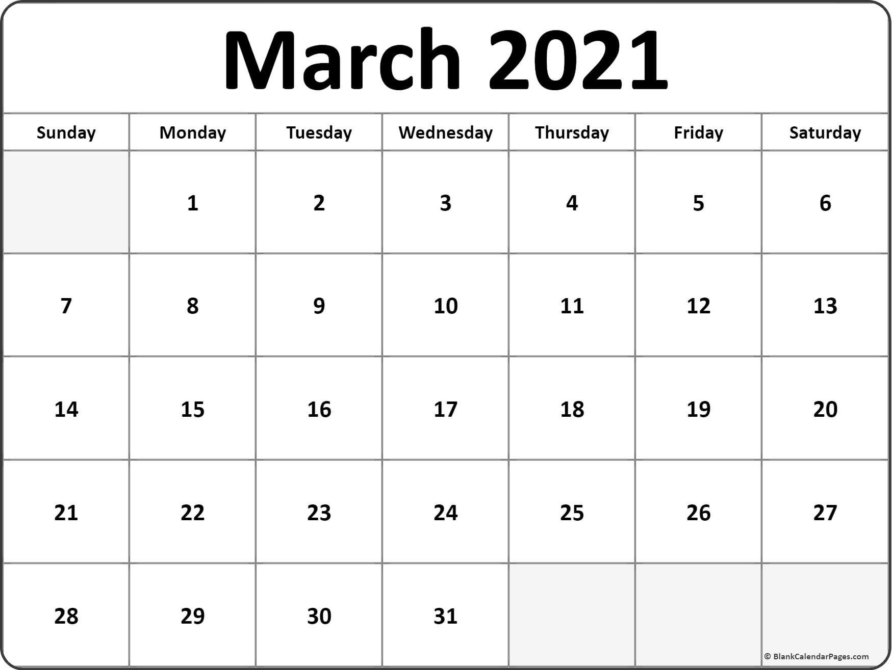 January February March April 2021 Calendar In 2020
