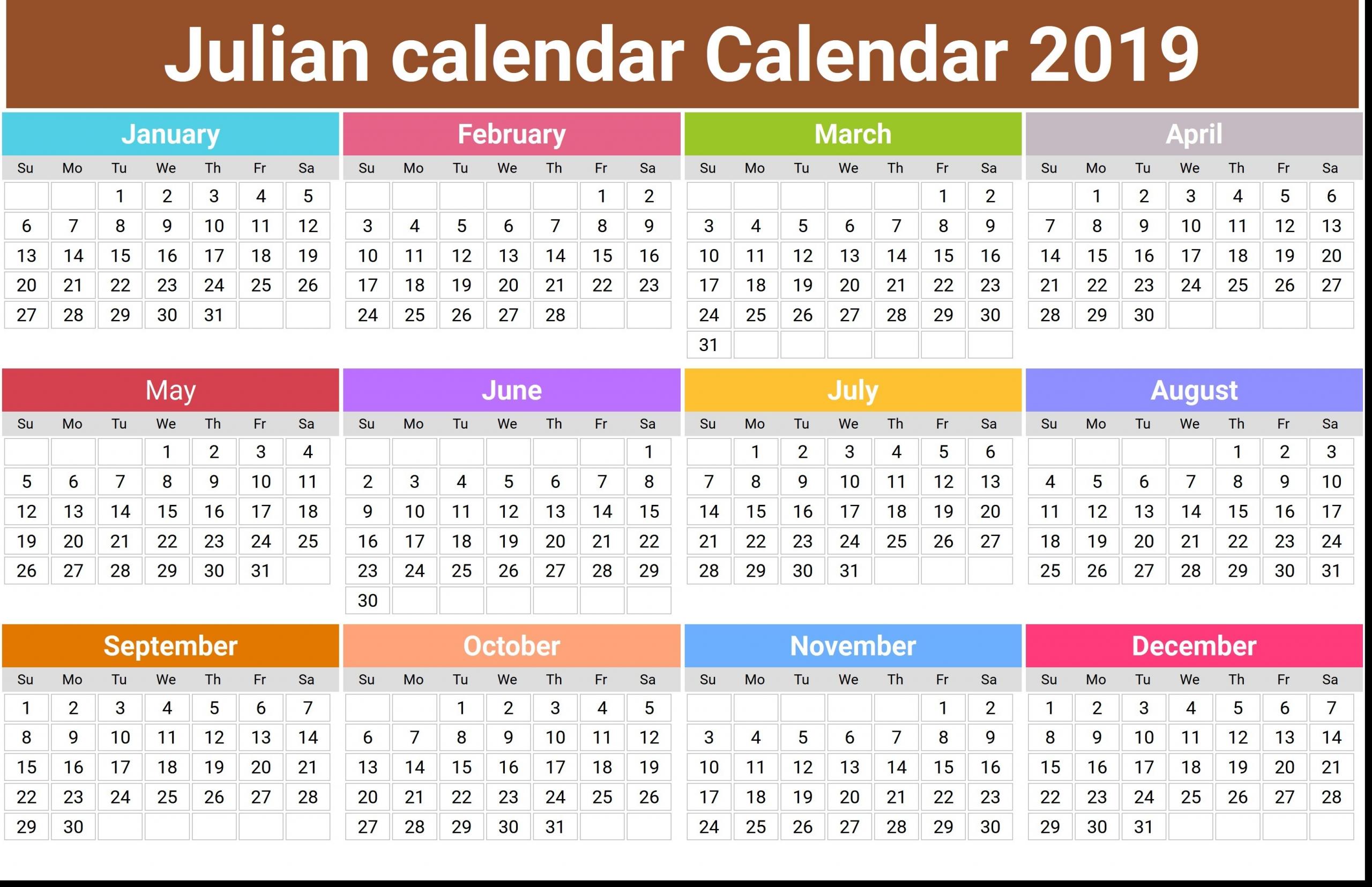 Julian Calendar 2020 Printable | Free Printable Calendar Monthly