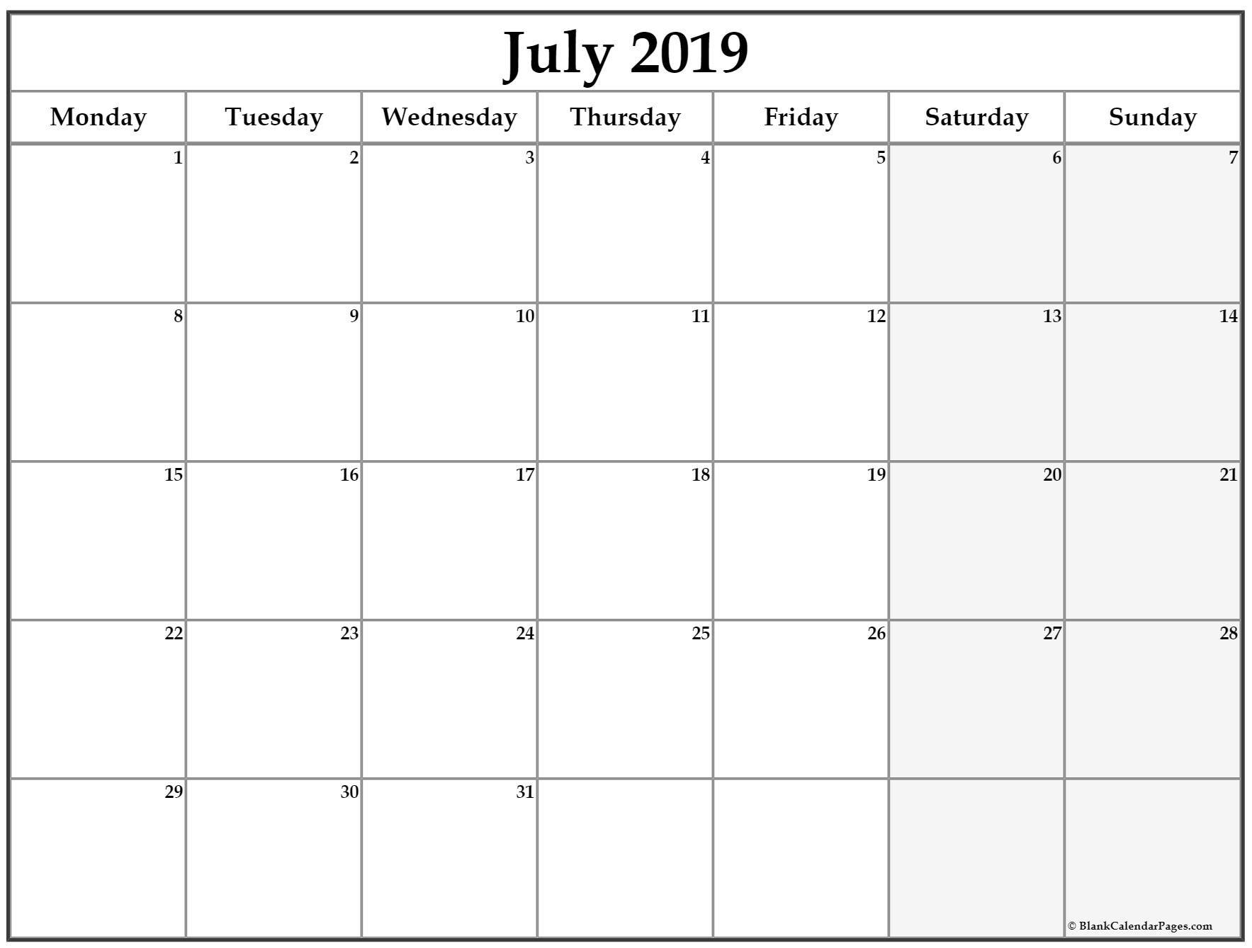 July 2019 Monday Calendar. Monday To Sunday | Calendar in Printable Monday Calendar Monday Start