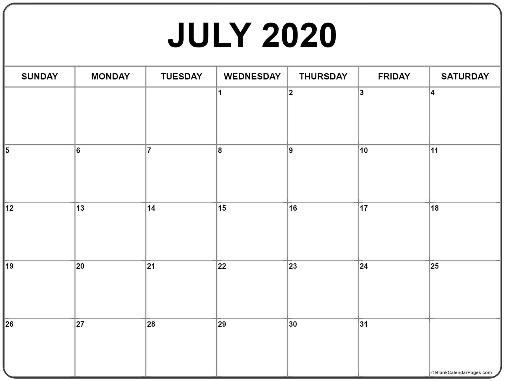 July 2020 Calendar | Free Printable Monthly Calendars pertaining to Free Printable Calendar With Space To Write