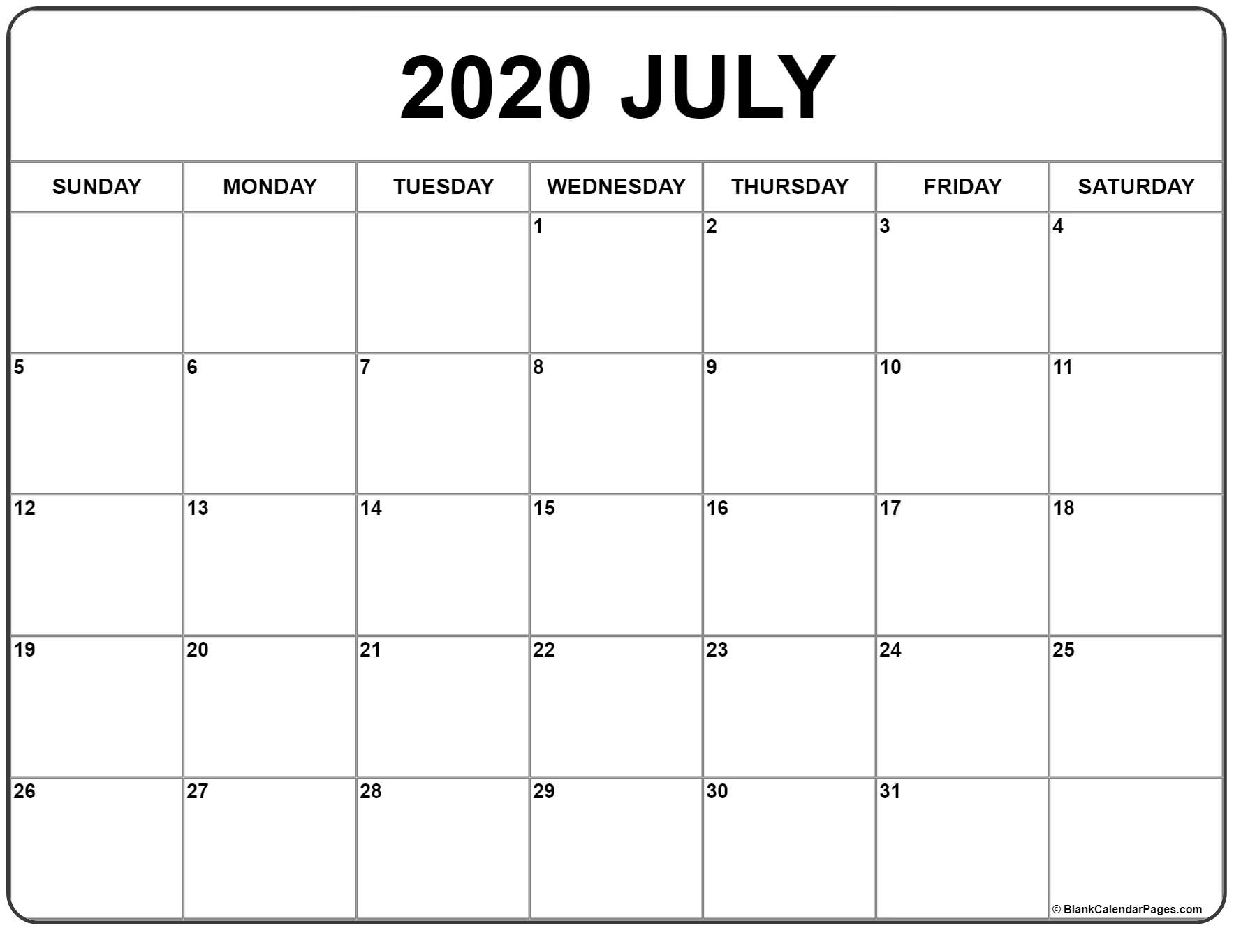 July 2020 Calendar | Free Printable Monthly Calendars within Free Printable 2020 Calendars Large Numbers