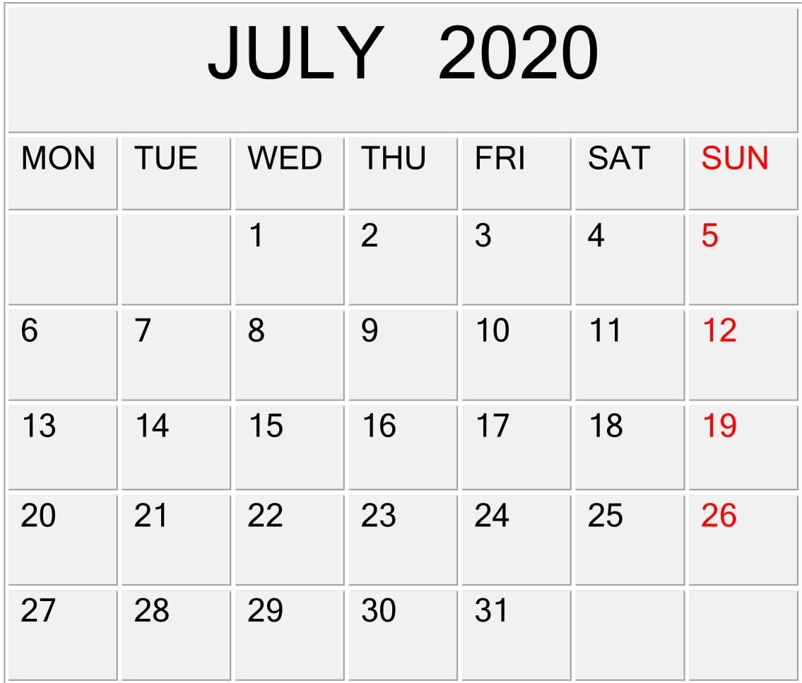 July 2020 Calendar Template For Word, Pdf, And Excel Free inside Google 2020 Calendar Template Editable
