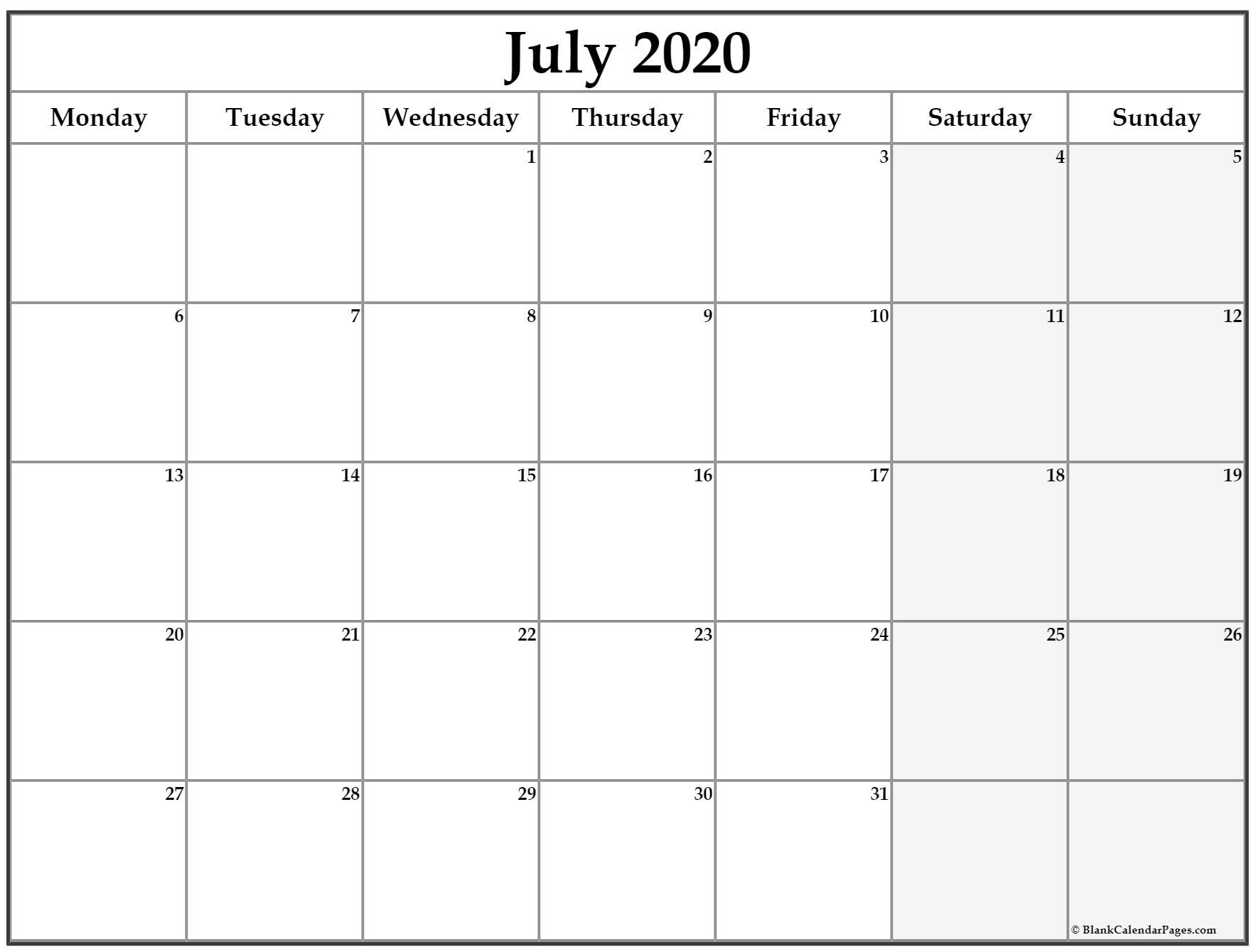 July 2020 Monday Calendar | Monday To Sunday for Printable Monday Calendar Monday Start