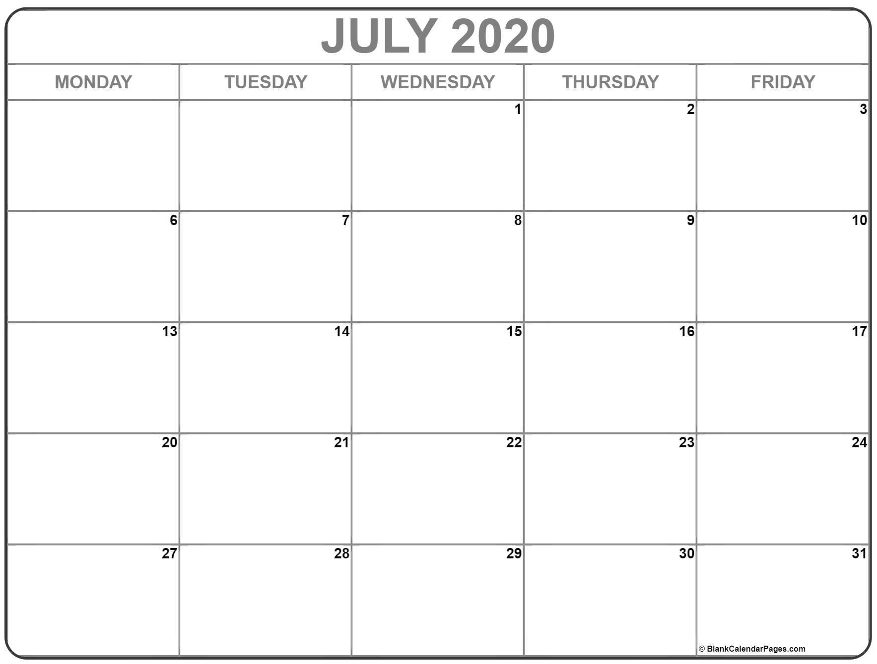July 2020 Monday Calendar | Monday To Sunday regarding Printable Monday To Sunday 2020 Calendar